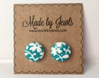 Aqua and White Floral Spring Flowers Handmade Fabric Covered Hypoallergenic Button Post Stud Earrings 10mm