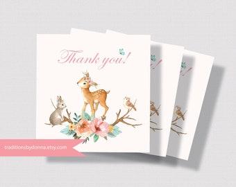WOODLAND BABY SHOWER Printable Favor Tag   Girl Baby Shower Favor Tag   Forest Animals Favor Tag   Little Deer Baby Shower Favor Tag 0260