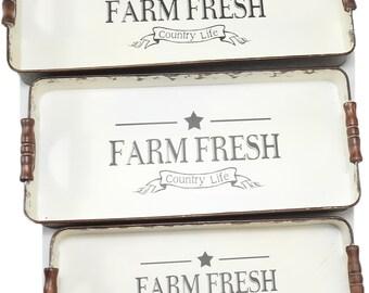 "R & W Vintage Reproduction Distressed Metal 3-Pack ""Farm Fresh"" Trays"