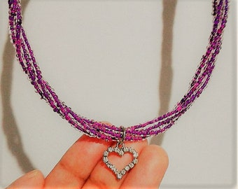 Purple Twisted Necklace w Heart Pendant