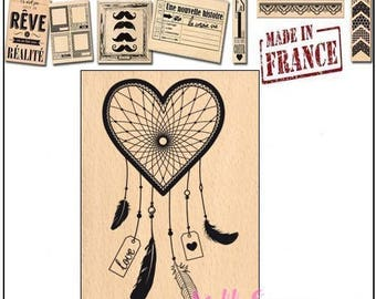 Stamp wood Miscellany Design, made in France, dream catcher stamp, scrapbooking