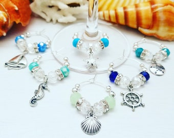BEACH WINE CHARMS, Beach Theme Party Favors - Wine Glass Charms, Blue Wine Charms, Coastal Wine Charms, Wine Gift, Designed LasmasCreations