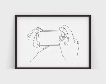 Take a Picture Art Print Pen and Ink Line Drawing Modern Illustration Simple Poster Print