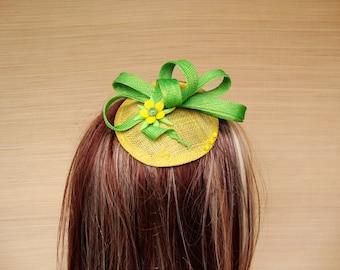 Sinamay Fascinator, Straw Fascinator, Green and Yellow Fascinator, Cocktail Hat,  Headpiece
