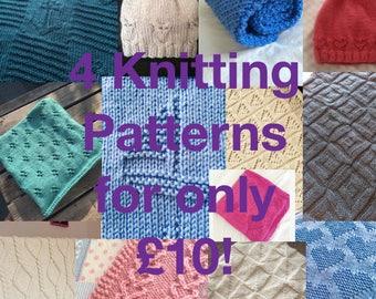 4 Knitting Pattern Deal, PDF, Combo Deal