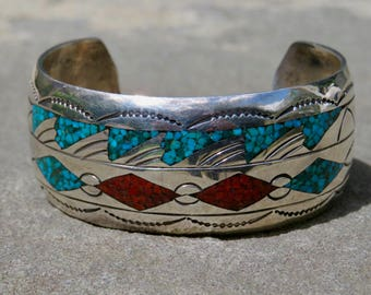 Native American Turquoise Jewelry,Turquoise Coral Inlay Cuff,Navajo Turquoise Coral Bracelet,Vintage Native American Turquoise Coral Jewelry