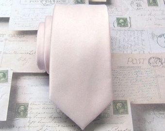 Mens Tie David's Bridal Petal Inspired Pale Pink Pastel Angel Blush Pink Skinny Necktie With Matching Pocket Square Option