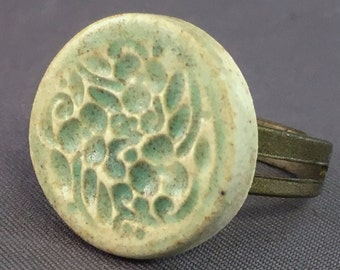 Porcelain Ring Flower Ring Ceramic Ring Earthy Green Flower Round
