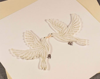 3D Blank Quilled Love Birds Quilling Card
