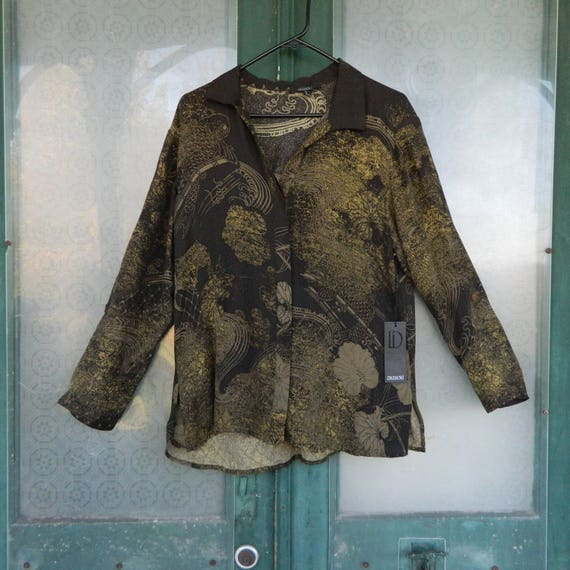 SALE - Dressori Long-Sleeve Blouse -S- Brown/Green Asian-style Print Silk NWT