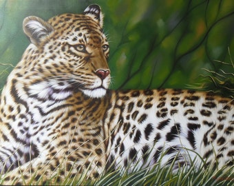 """Leopard painting oil painting on canvas 32""""X48"""""""