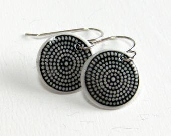 Ceramic Earring Porcelain Dangle Earrings Black and White Dots With Hand Forged Sterling Silver Earwires