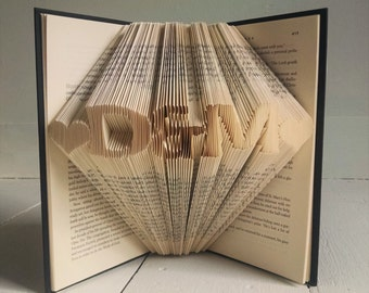 Wedding Gift - Gift for him - Gift for her - Monogrammed - Personalized - Folded Book Art - Paper Anniversary