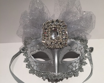 Silver Masquerade Mask -Costume Party Mask- NYC Mask- Silver Mask- Masquerade Ball- Mardi Gras Mask- Masked Ball -Mask on a stick- Halloween