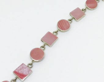 Vintage Sterling Silver 925 Pink Rhodochrosite Ombre Geometric Toggle Bracelet/Bangle