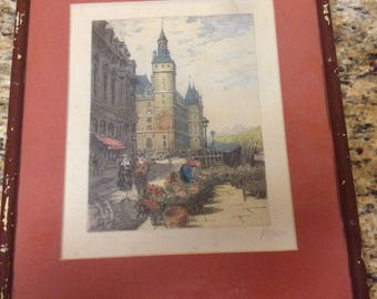 "Vintage Litho Print - European Town Square Pencil Signed in 11""x15"" Frame"