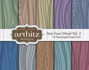 "Bois, Vol. 2, 10 Piece Faux Wood Texture Digital Scrapbooking Paper Pack, 12""x12"", 300 dpi .jpg, Instant Download!"