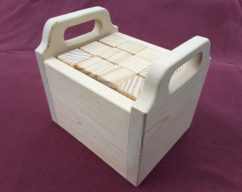 36 Unfinished Handmade Blocks with Carrying Case, Ideal for Baby Shower Activity
