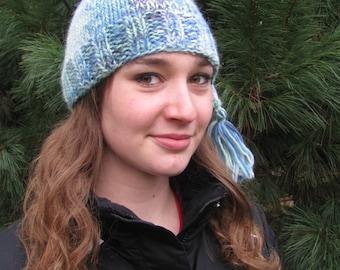 Knit Hat Blue Mix Soft Elf Style Stocking Cap w Tassel Adult