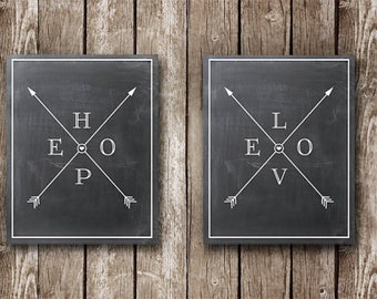 "Hope and Love with Crossed Arrows on Chalkboard - TWO FOR ONE - Printable Posters - 16x20"" can be reduced to 8x10"""