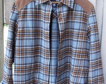 Flannel Jacket/ Cowgirl Chic/ Petite Large Shirt/ Faux Leather Trim/ Western Jacket/ Retro Flannels/ Shabbyfab Funwear