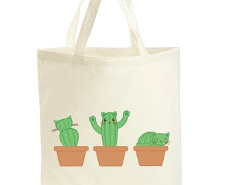 Cat Tote Bag - Cat Gift - Cactus Gift - Cat Bag - Cactus Canvas Bag - Gift For Cat Lover - Cat Lover Gifts- Cactus Lover Gifts