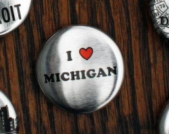 Metallic I Heart Michigan Pins - Set of Three