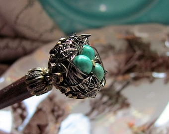 Secret Garden Victorian Wire Wrapped Robin's Nest Beaded Wood Hair Stick or Shawl Pin