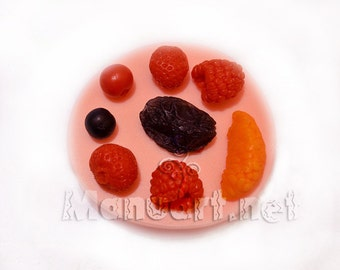 Berry set #2 3D silicone mold, Berries mold, soap mold, berry mould, fruit, raspberry mold, strawberry mold, resin mold, polymer clay mold