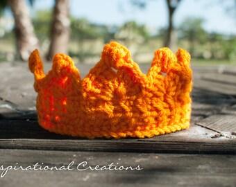 Crochet Baby Crown, Crochet Baby Tiara, Crochet Orange Crown, Crochet Orange Tiara, Baby Crown, Baby Tiara, Handmade Baby Crown, Handmade