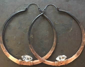 Copper Hoop Earrings Large Hoops Copper Hoop Earrings Crystal Earrings DanielleRoseBean Custom Hoop Earrings witch jewelry