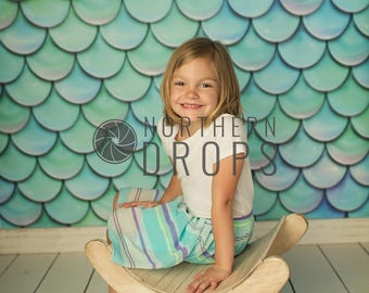 Photography Backdrop - FISH SCALES - Aqua - Mermaid Fish Scale printed backdrop - Fish scale background - Limited supply of 5ftx5ft & larger