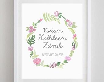 Custom Name and Date Floral Watercolor Art Print