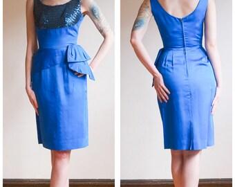 1950s Dress // Bright Blue Sequin & Satin Dress // vintage 50s dress