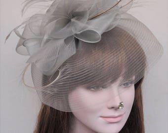 Kentucky Derby Wedding Feather Floral Organza Headband Fascinator  Hat Cocktail Gray/Silver