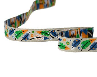 Ribbon woven theme feathers multicolor 16mm - SC64656.
