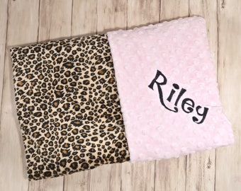 Monogrammed Minky Baby Blanket, Leopard Cheetah Print Minky and Pink Minky Dot, Personalized Gift, Animal Print, Blanket with name Newborn