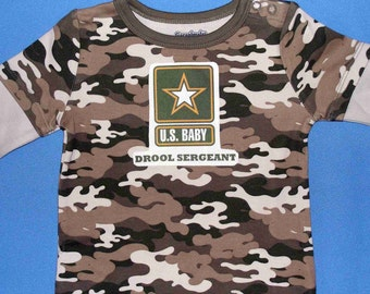 U.S. Army Drool Sergeant Baby Military Onesie Boys 6 - 9 Months
