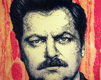 "Print 11x14"" - Ron Swanson - Parks and Recreation Bacon Eggs Meat Steak Mustache Pop Art Food Nick Offerman Hipster Man Hunting Pig Eat"