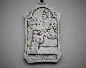 RARE Large Salve Regina Antique Religious Medal / 1800s Catholic Relic Medal