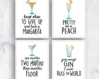 Margarita, Peach, Martini, Gin (Top Shelf Humor) Set of 4 Art Prints (Featured on White) Alcohol Bar Art Print