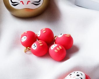 Daruma Polymer Clay Charm Cute Daruma Kawaii Charms Mustache Gift Ideas Valentine Gift Handmade Custom Charms jewelry special girl birthday