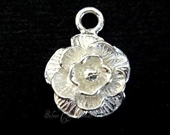 Bali Silver Rose Charm,  Bali Sterling Silver Bright Rose Charm - 10 mm