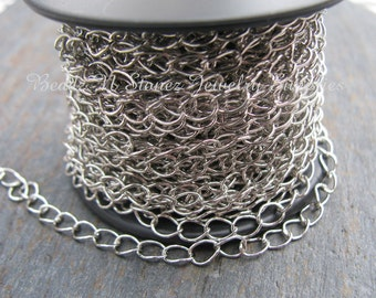 5 FEET Quality Nickel Silver Plate 4.2 x 5.2mm Curb Bulk Chain