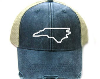 bfeed8a0eb7 North Carolina Hat - Distressed Snapback Trucker Hat - North Carolina State  Outline - Many Colors