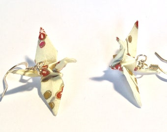 """Origami Crane Earrings Cream with pink and  coral Flowers 1.25"""""""