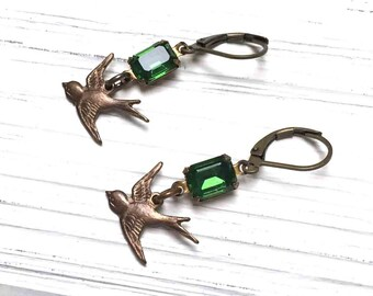 Rhinestone Bird Earrings. Medium Drop Earrings. Dangle Earrings. Emerald Green. Lever Back. Handmade Jewelry.
