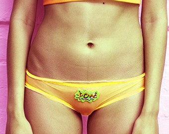 Pia Pow Yellow Knickers - See Though - Sheer - Transparent - Embroidery - Lingerie - Panties - Kawaii - Embroidered - Gift for Her - Women