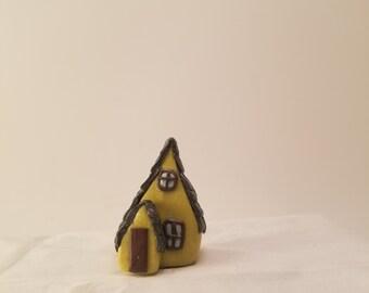 Handmade - Yellow clay 2 story Tudor Fairy House