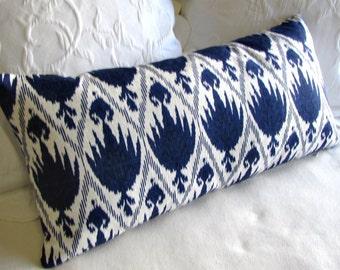CASABLANCA indigo blue designer decorative Pillow 13x26 insert included